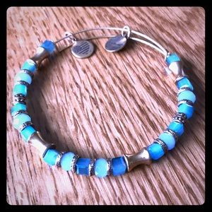 Blue and gold Alex and Ani beaded bracelet